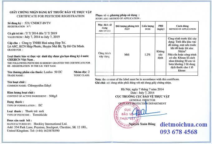 Giấy phép đăng ký lưu hành sản phẩm diệt mối lenfos 50EC