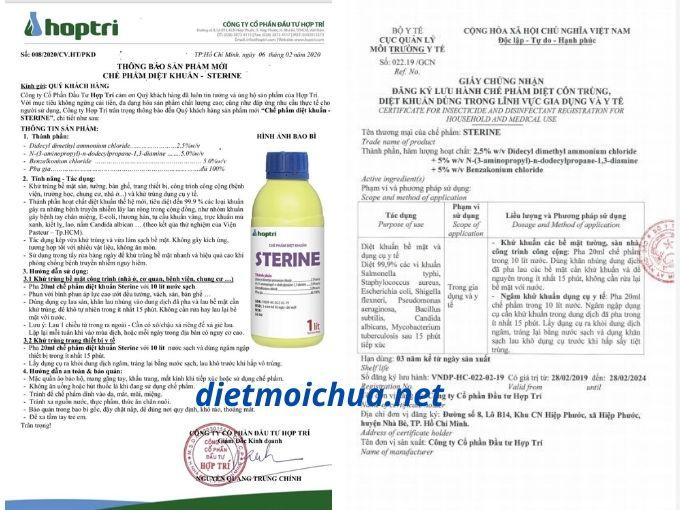 Thuốc sát trùng khử khuẩn Sterine được Bộ Y tế cấp phép